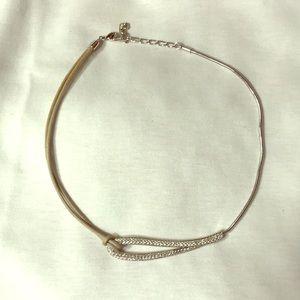 Swarovski leather/silver necklace